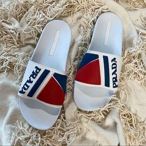 PRADA Men's White Red Blue Logo Pool Slides
